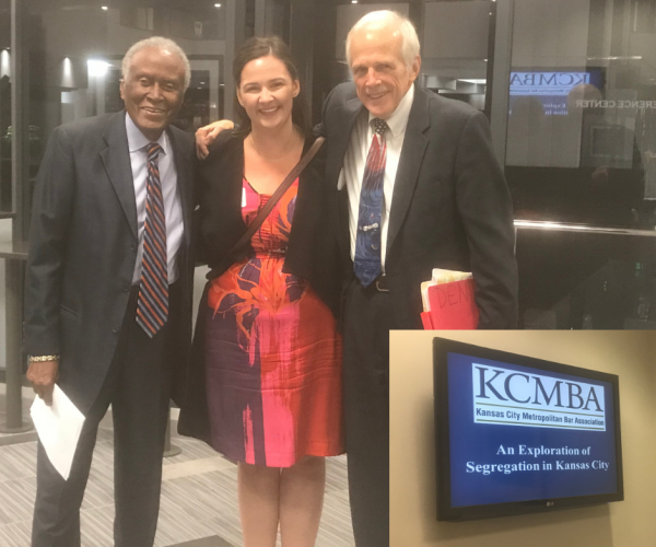 Kelly Frickleton pictured here with two of the esteemed panelist: Alvin Brooks, Civil Rights Leader and John Kurtz, Hubbard & Kurtz, L.L.P.